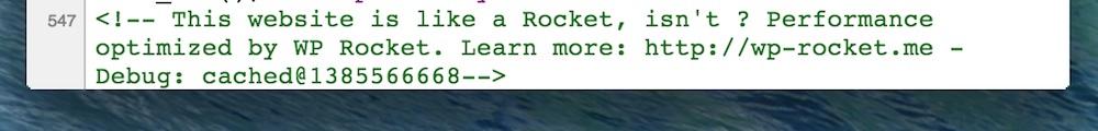 WP-Rocket ajoute une ligne à la fin du code source : un bon moyen de vérifier que le plugin fonctionne bien…