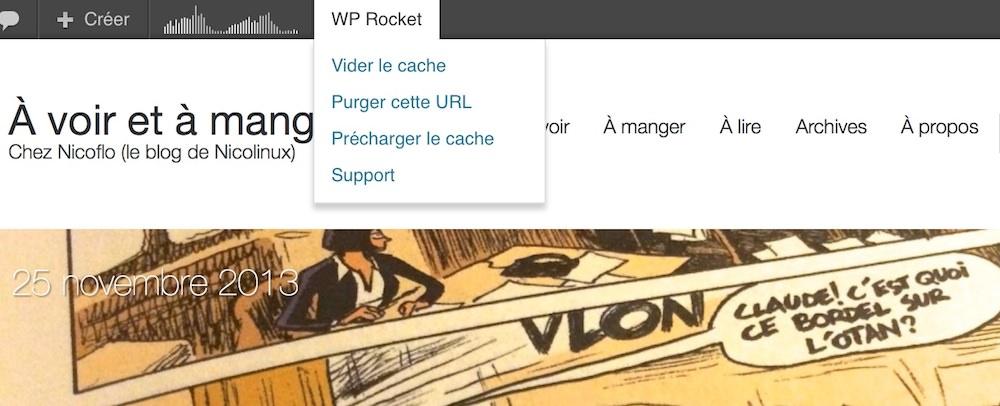 Le menu de WP-Rocket, accessible à n'importe quel moment sur votre blog.
