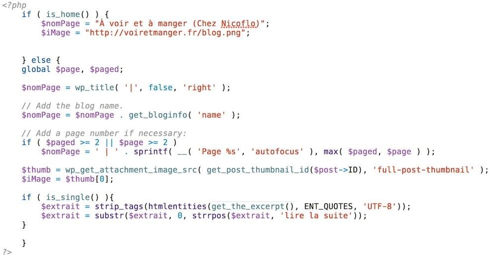 Le code PHP utilisé sur mon blog pour obtenir les informations liées à chaque article.