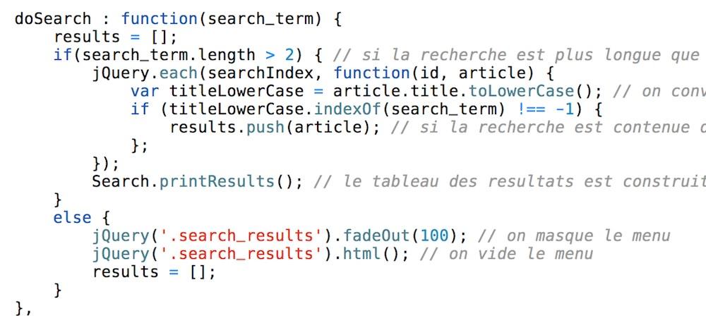 Extrait du script JavaScript qui permet d'afficher les résultats d'une recherche.