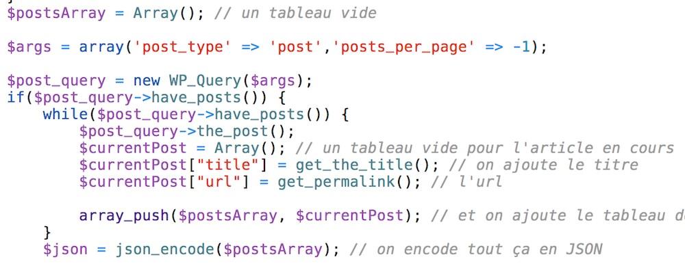 Extrait de la fonction qui indexe tout le contenu du blog.
