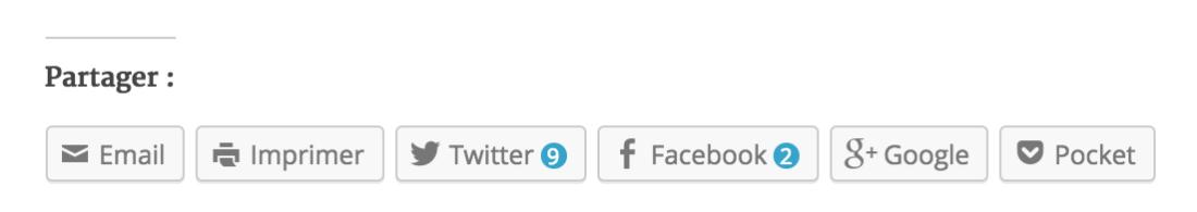 Les boutons de partage proposés par défaut sur WordPress.com