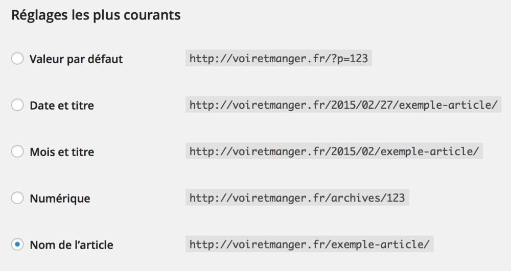 Les différents réglages proposés par WordPress