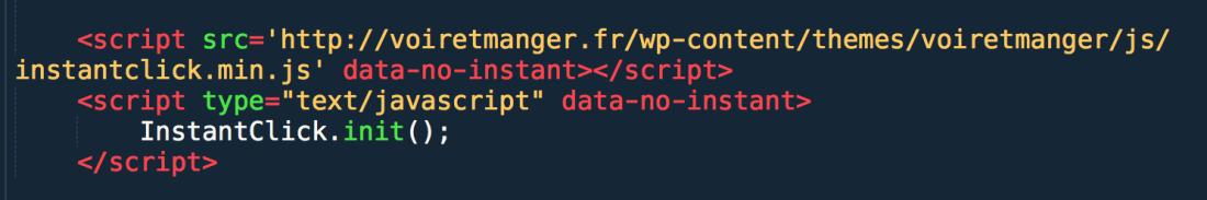Ces quelques lignes suffisent à installer InstantClick.